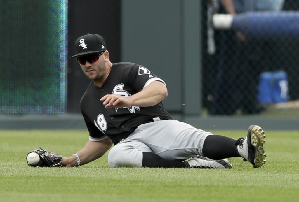 Chicago White Sox right fielder Daniel Palka drops a ball hit by Kansas City Royals' Jorge Soler (12) during the fifth inning of a baseball game at Ka...