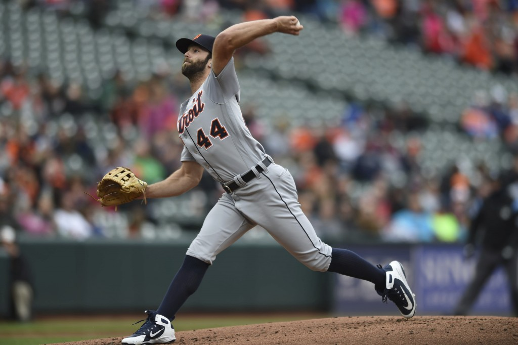 Detroit Tigers pitcher Daniel Norris throws against the Baltimore Orioles in the first inning of baseball game, Sunday, April 29, 2018, in Baltimore. ...