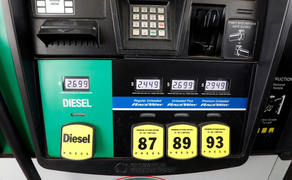 FILE- This April 23, 2018, file photo show gasoline prices at a fueling center in Richland, Miss. Crude oil prices are at the highest level in more th...
