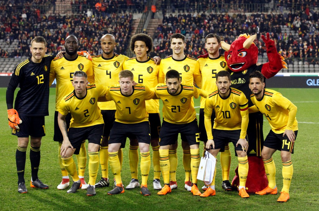 In this photo taken on Tuesday, March 27, 2018, Belgium's National team before a friendly soccer match between Belgium and Saudi Arabia at King Baudou...