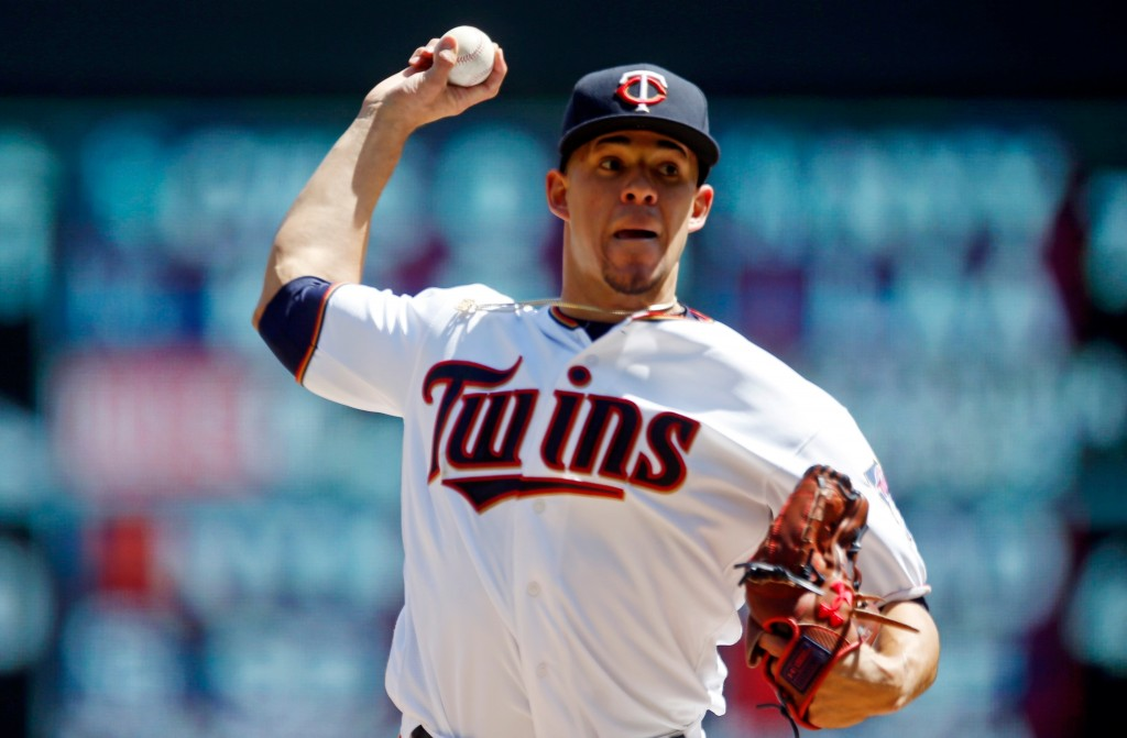 Minnesota Twins pitcher Jose Berrios throws against the Cincinnati Reds in the first inning of a baseball game Sunday, April 29, 2018, in Minneapolis....