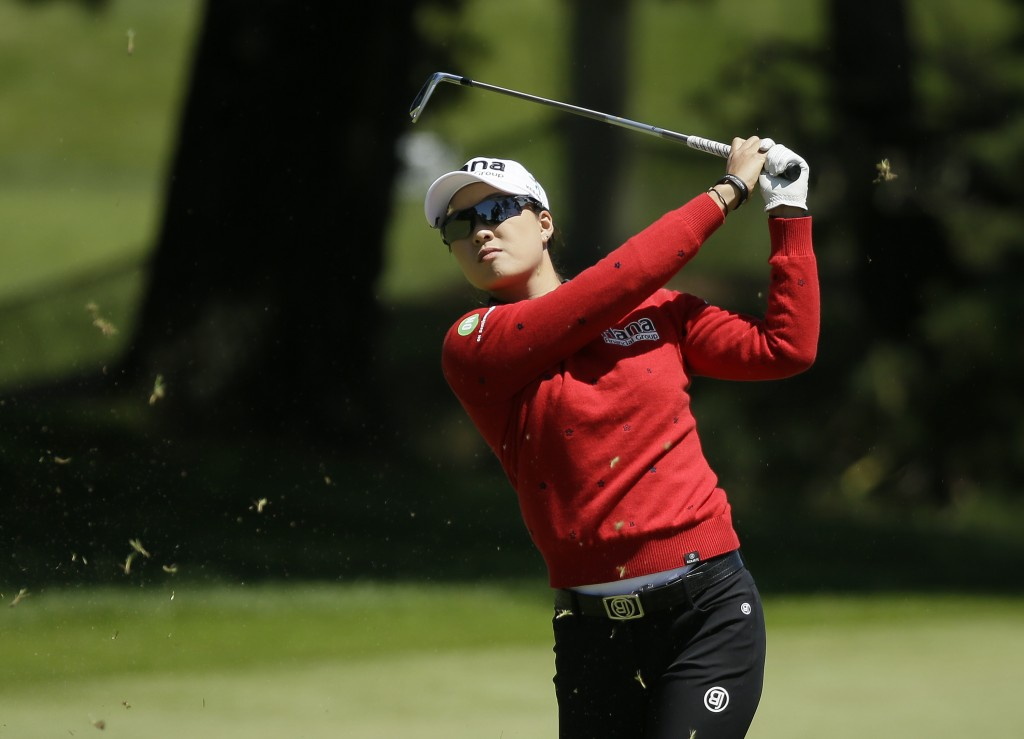 Minjee Lee, of Australia, follows her shot from the first fairway of the Lake Merced Golf Club during the final round of the LPGA Mediheal Championshi...