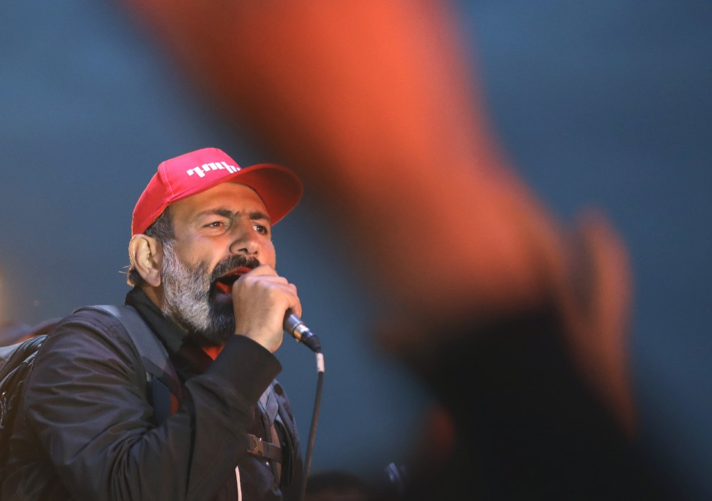 Armenian protest leader Nikol Pashinian delivers his speech during a rally in Yerevan, Armenia, Sunday, April 29, 2018. The leader of the wave of prot...