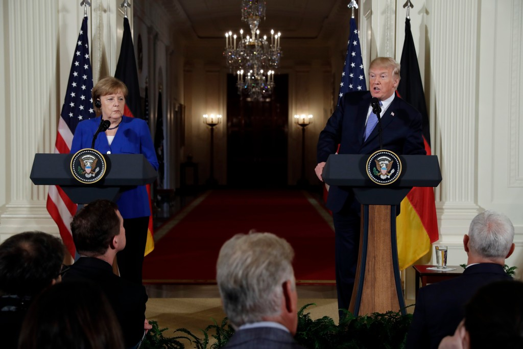 FILE - In this April 27, 2018 file photo, President Donald Trump speaks during a news conference with German Chancellor Angela Merkel in the East Room...