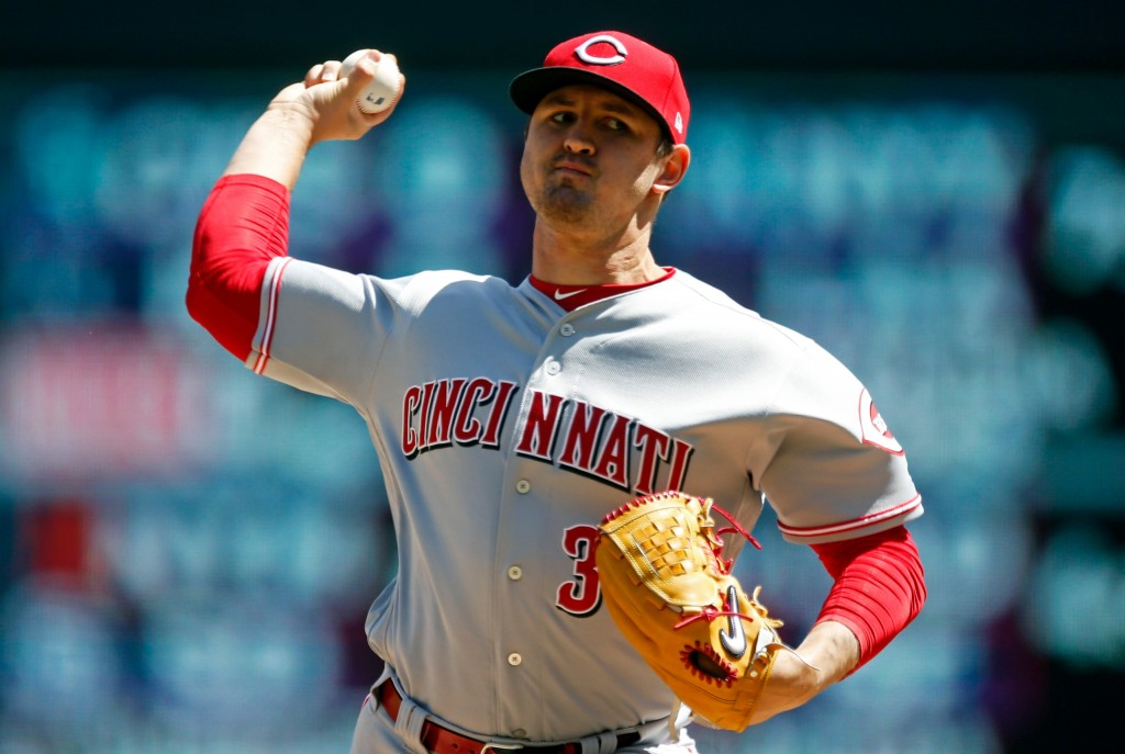 Cincinnati Reds' pitcher Tyler Mahle throws against the Minnesota Twins in the first inning of a baseball game Sunday, April 29, 2018, in Minneapolis....