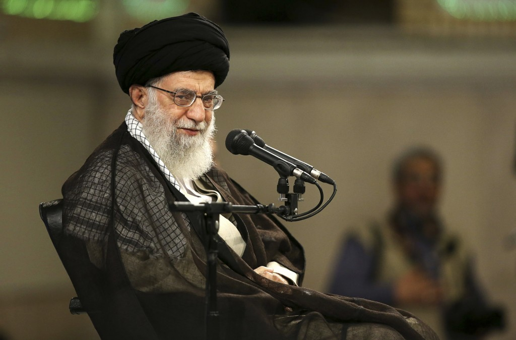 In this picture released by official website of the office of the Iranian supreme leader, Supreme Leader Ayatollah Ali Khamenei speaks in a meeting wi...