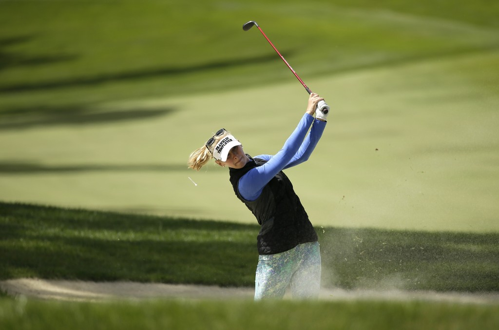 Jessica Korda follows her shot out of a bunker on the fifth fairway of the Lake Merced Golf Club during the final round of the LPGA Mediheal Champions...