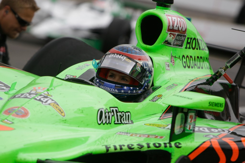 FILE - In this May 27, 2011, file photo, IndyCar driver Danica Patrick is seen in her car on the final day of practice for the Indianapolis 500 auto r...
