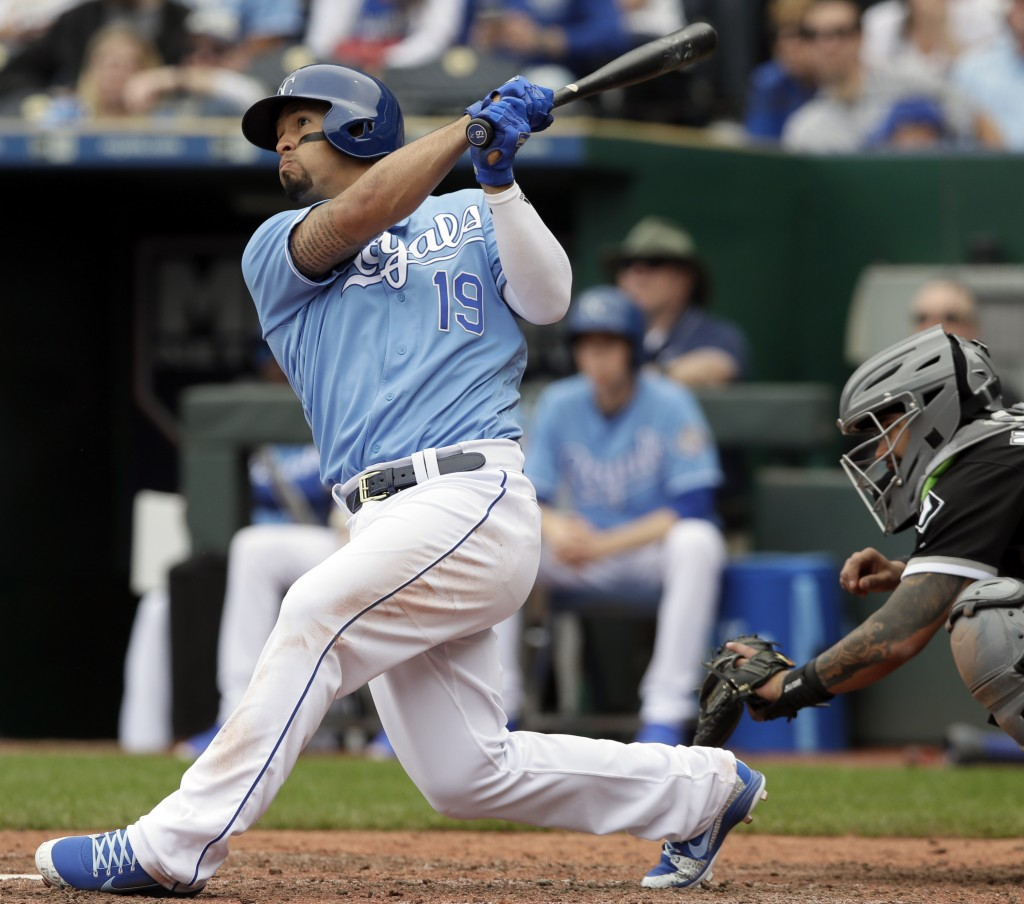 Kansas City Royals' Cheslor Cuthbert hits a three-run home run during the fifth inning of a baseball game against the Chicago White Sox at Kauffman St...