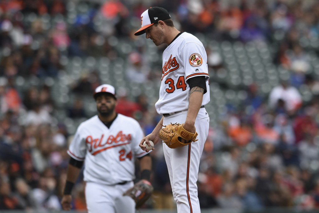 Baltimore Orioles pitcher Kevin Gausman pauses before leaving the game against the Detroit Tigers in the sixth inning of baseball game, Sunday, April ...