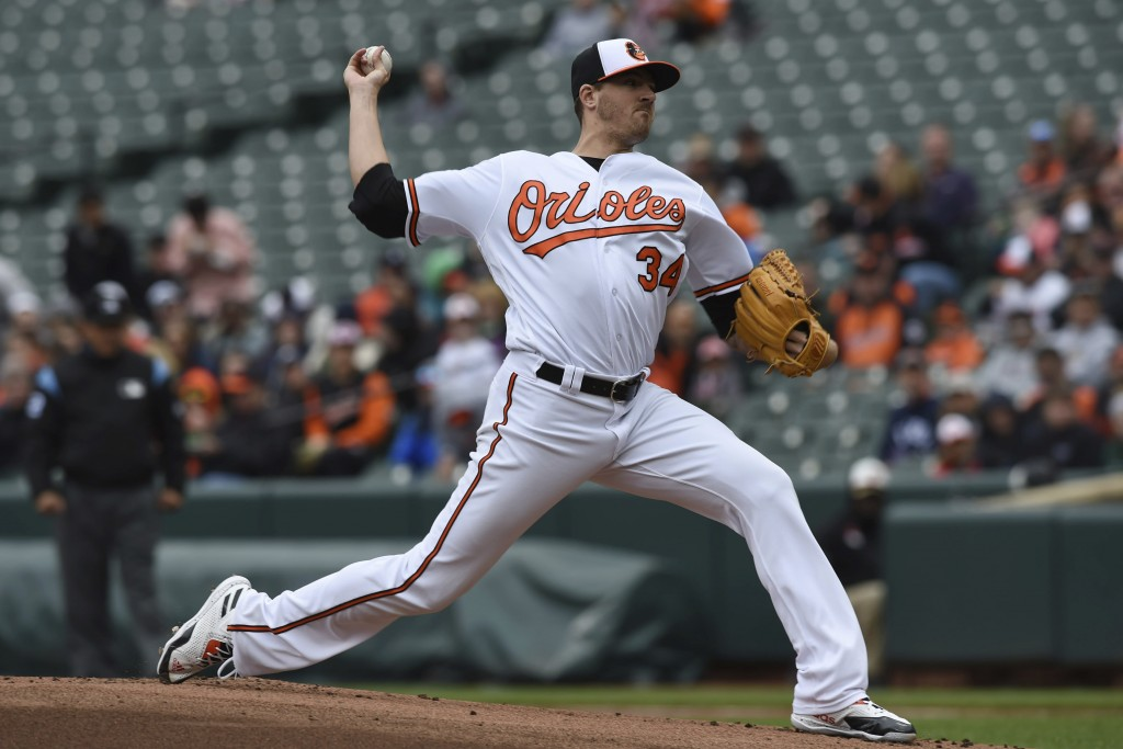 Baltimore Orioles pitcher Kevin Gausman throws against the Detroit Tigers in the first inning of baseball game, Sunday, April 29, 2018, in Baltimore. ...