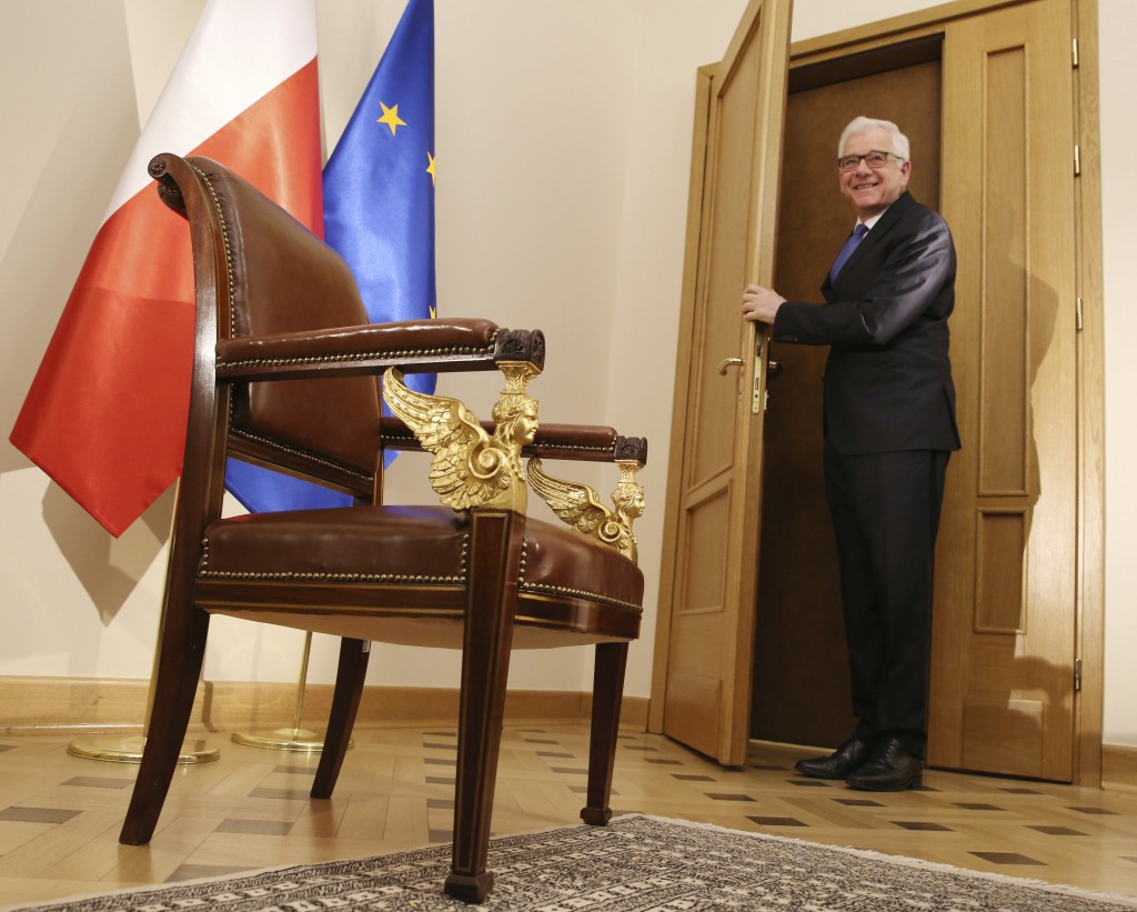 Polish Foreign Minister Jacek Czaputowicz arrives before meting with The Associated Press  in Warsaw, Poland, Monday, April 30, 2018. Czaputowicz says...
