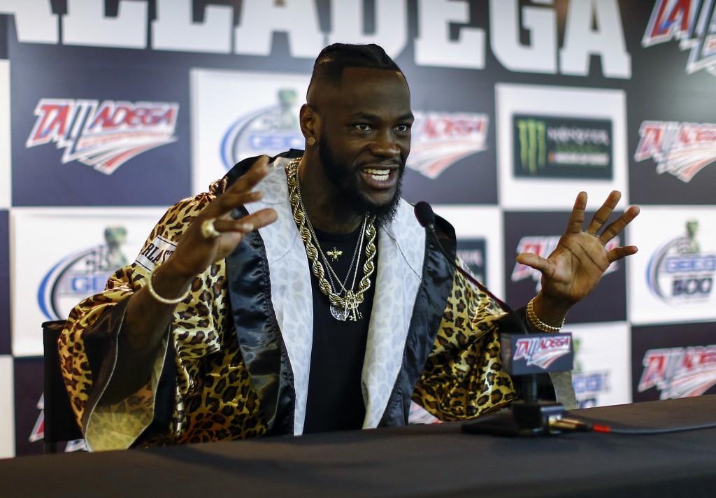 WBC Heavyweight Champion Deontay Wilder speaks at a press conference before the GEICO 500 NASCAR Talladega auto race at Talladega Superspeedway, Sunda...