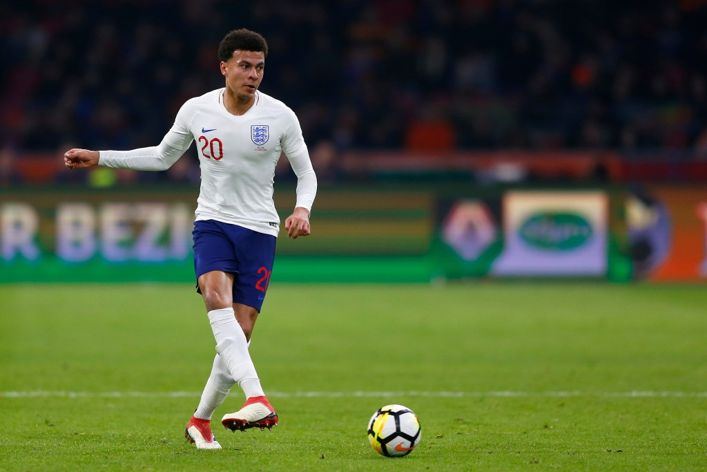 In this photo taken on Friday, March 23, 2018, England's Dele Alli controls the ball during the international friendly soccer match between the Nether...