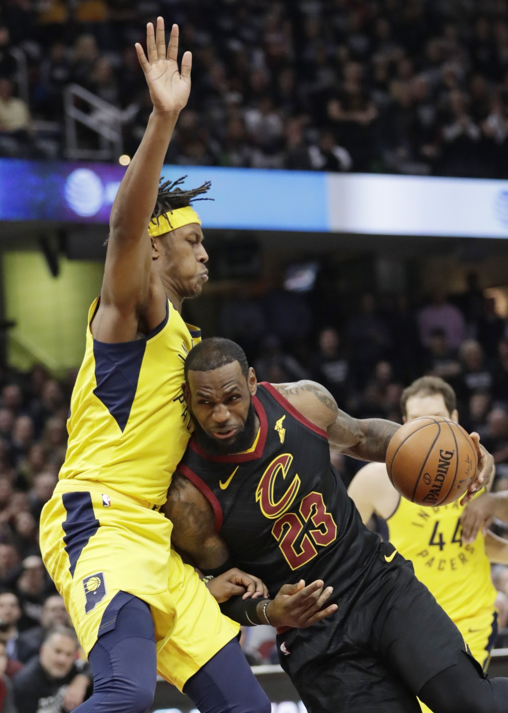 Cleveland Cavaliers' LeBron James (23) dries to the basket against Indiana Pacers' Myles Turner (33) in the first half of Game 7 of an NBA basketball ...
