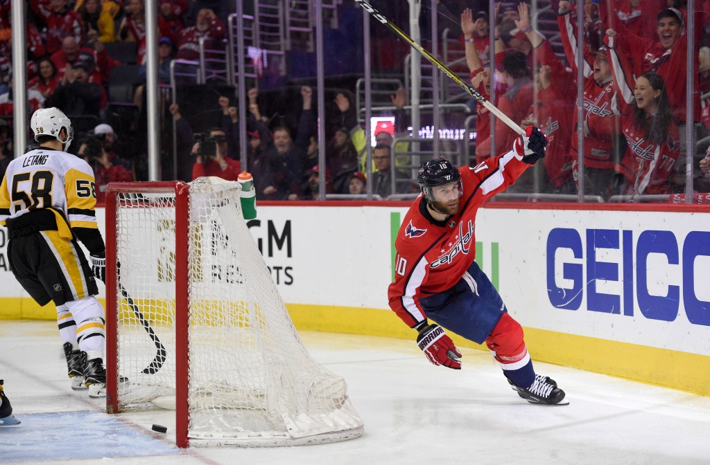 Washington Capitals right wing Brett Connolly (10) celebrates his goal during the second period in Game 2 of an NHL second-round hockey playoff series...