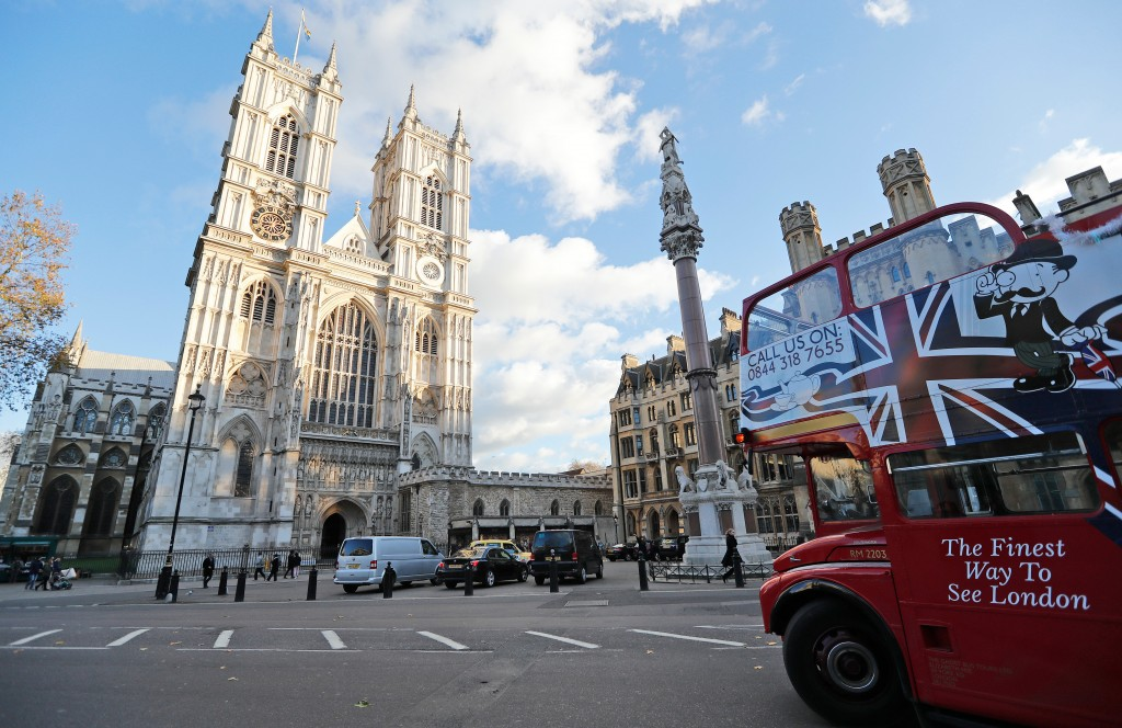 FILE - The Nov. 28, 2017, file photo, shows Westminster Abbey in London. Fans of the British royals will want to include castles, and other sites conn...