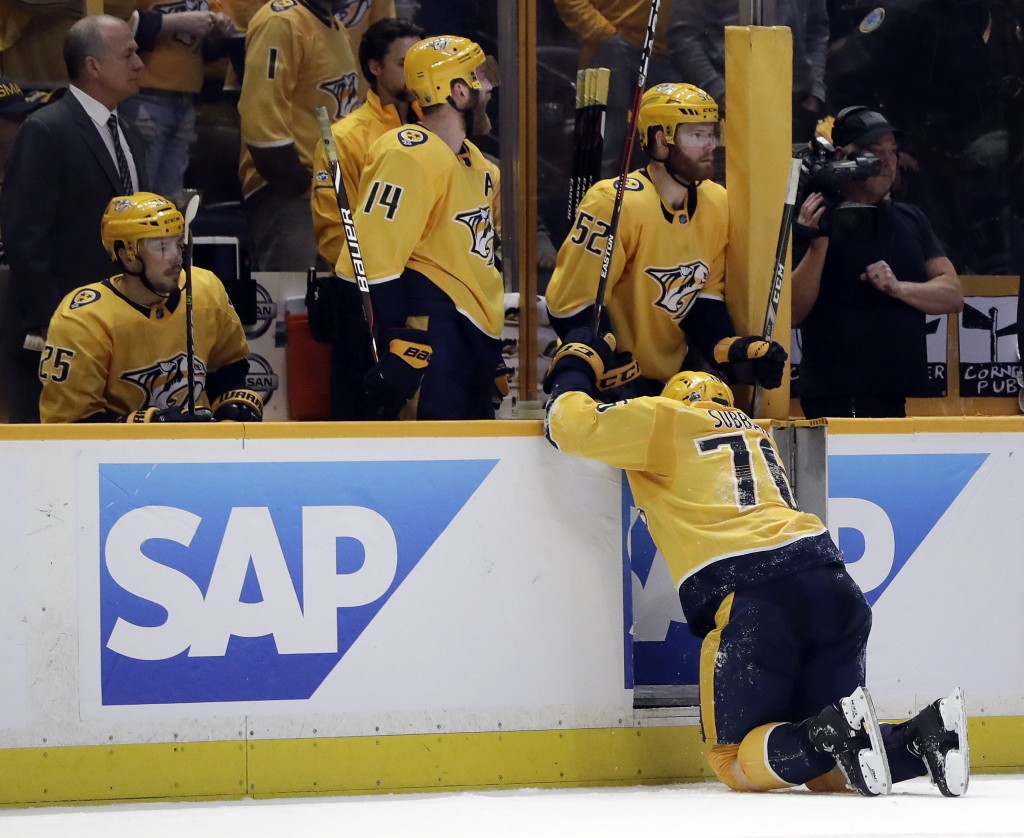 Nashville Predators defenseman P.K. Subban (76) crawls to the bench after being injured during the second period in Game 2 of an NHL hockey second-rou...