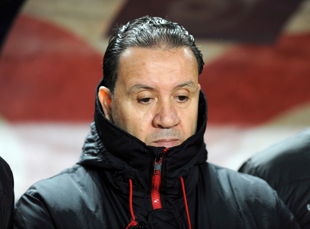 In this photo taken on Friday March 23, 2018, Tunisia's national soccer coach Nabil Maaloul is pictured during a friendly soccer match between Tunisia...
