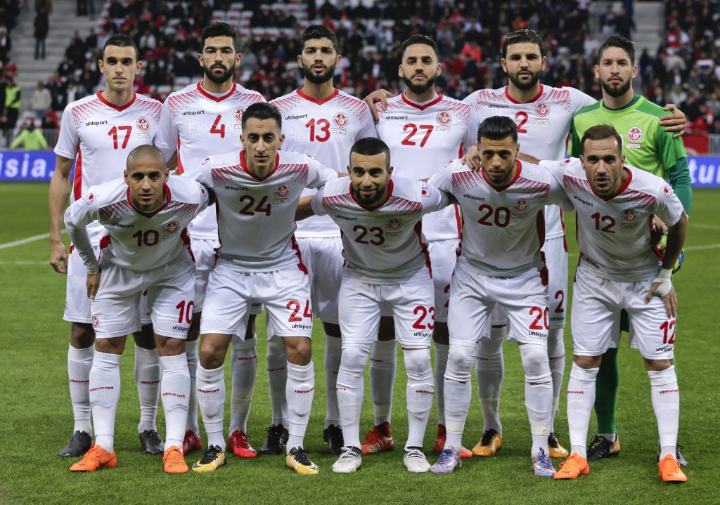 In this photo taken on Tuesday, March 27, 2018, Tunisia's national soccer team poses before a friendly soccer match between Tunisia and Costa Rica at ...