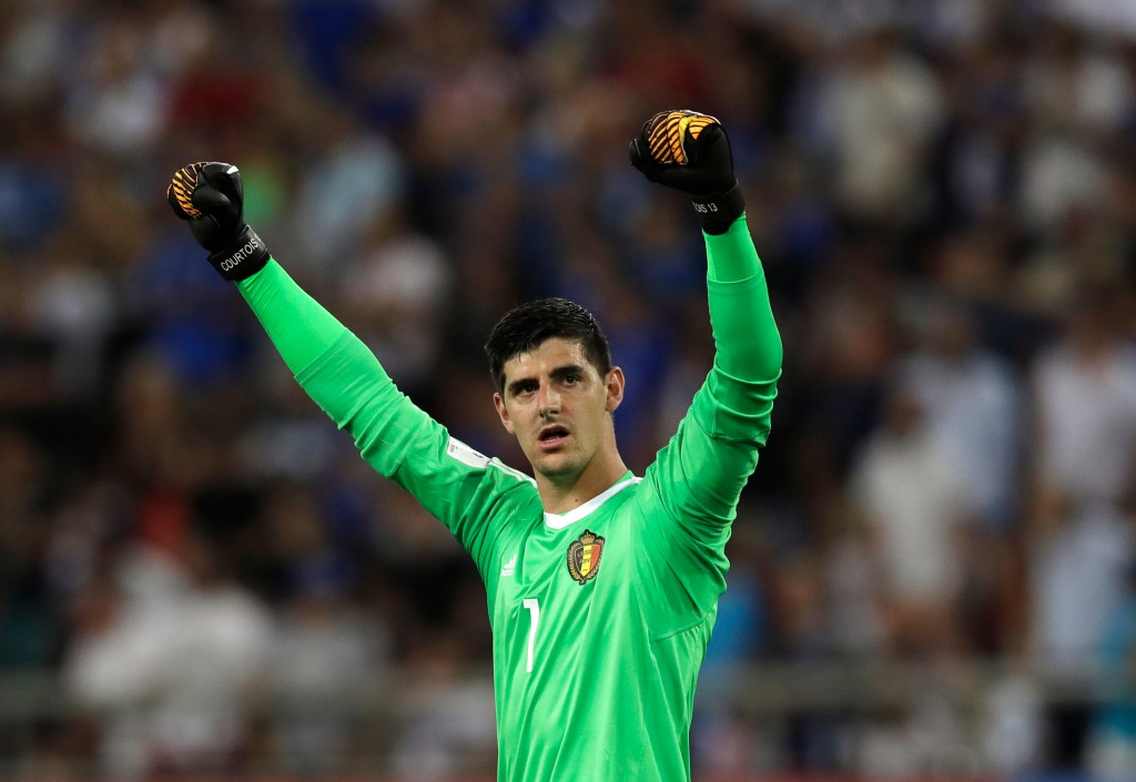 FILE - In this Sunday, Sept. 3, 2017 filer, Belgium goalkeeper Thibaut Courtois celebrates at the end of the World Cup Group H qualifying soccer match...
