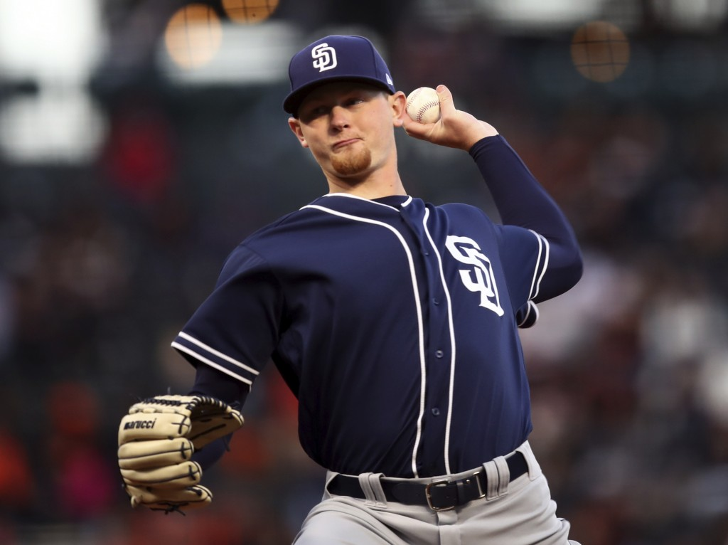 San Diego Padres pitcher Eric Lauer works against the San Francisco Giants in the first inning of a baseball game Monday, April 30, 2018, in San Franc...