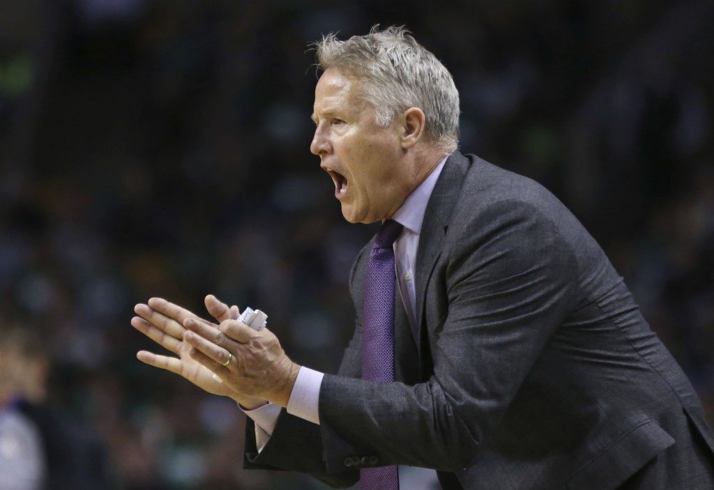 Philadelphia 76ers head coach Brett Brown instructs his players in the second half against the Boston Celtics in Game 1 of an NBA basketball second-ro...