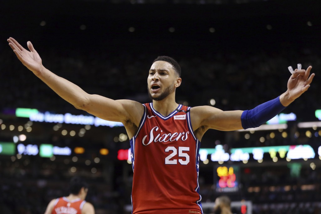Philadelphia 76ers guard Ben Simmons (25) complains to the referee in the second half against the Boston Celtics in Game 1 of an NBA basketball second...