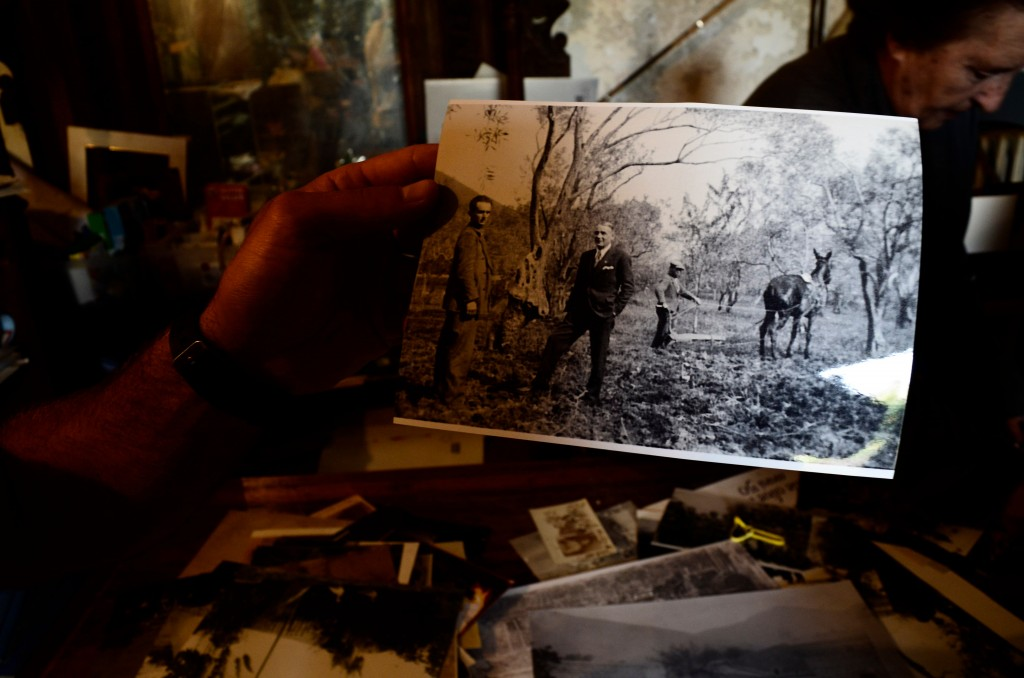 This April 4, 2018 photo shows Giovanni Caruso holding an old photograph of life on a former noble estate in Torretta near Palermo in Sicily. Amalia U...