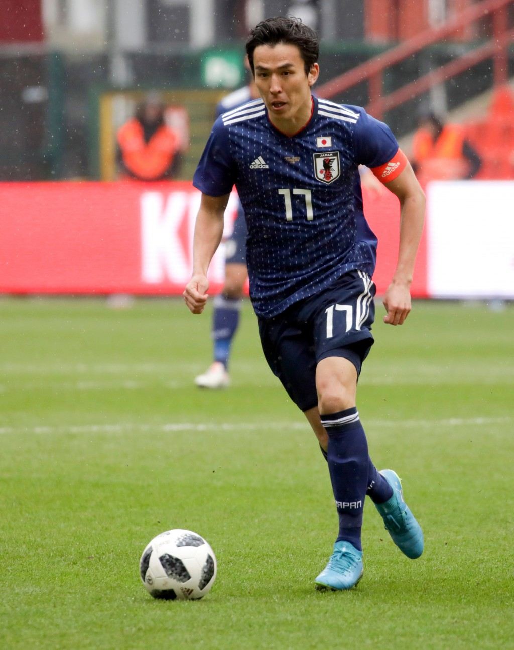 In this photo taken on Tuesday, March 27, 2018, Japan's Makoto Hasebe in action during an international friendly soccer match between Japan and Ukrain...