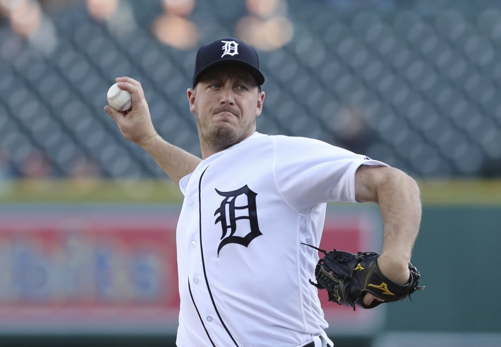 Detroit Tigers starting pitcher Jordan Zimmermann throws during the first inning of a baseball game against the Tampa Bay Rays, Monday, April 30, 2018...