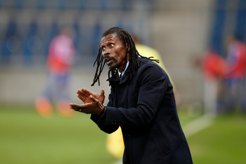 In this photo taken on Tuesday, March 27, 2018, Senegal's head coach Aliou Cisse reacts during a friendly soccer match between Senegal and Bosnia and ...