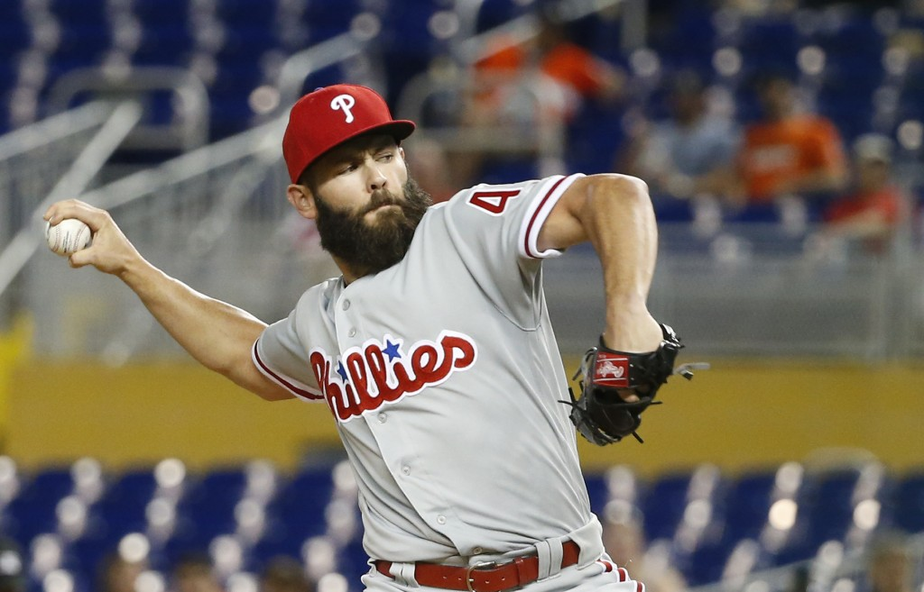 Philadelphia Phillies' Jake Arrieta delivers a pitch during the first inning of a baseball game against the Miami Marlins, Monday, April 30, 2018, in ...
