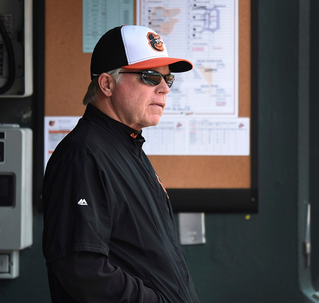 FILE - In this April 29, 2018, file photo, Baltimore Orioles manager Buck Showalter looks onto the field during play against the Detroit Tigers in a b...