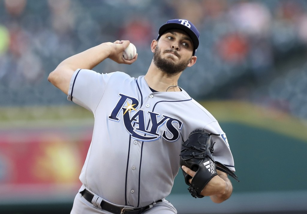 Tampa Bay Rays starting pitcher Jacob Faria throws during the second inning of a baseball game against the Detroit Tigers, Monday, April 30, 2018, in ...