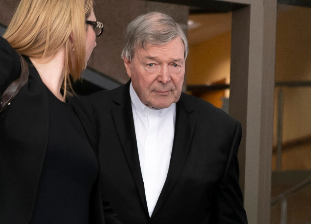 Australian Cardinal George Pell leaves the Melbourne Magistrate Court in Melbourne Tuesday, May 1, 2018. Australian Cardinal Pell, the most senior Vat...