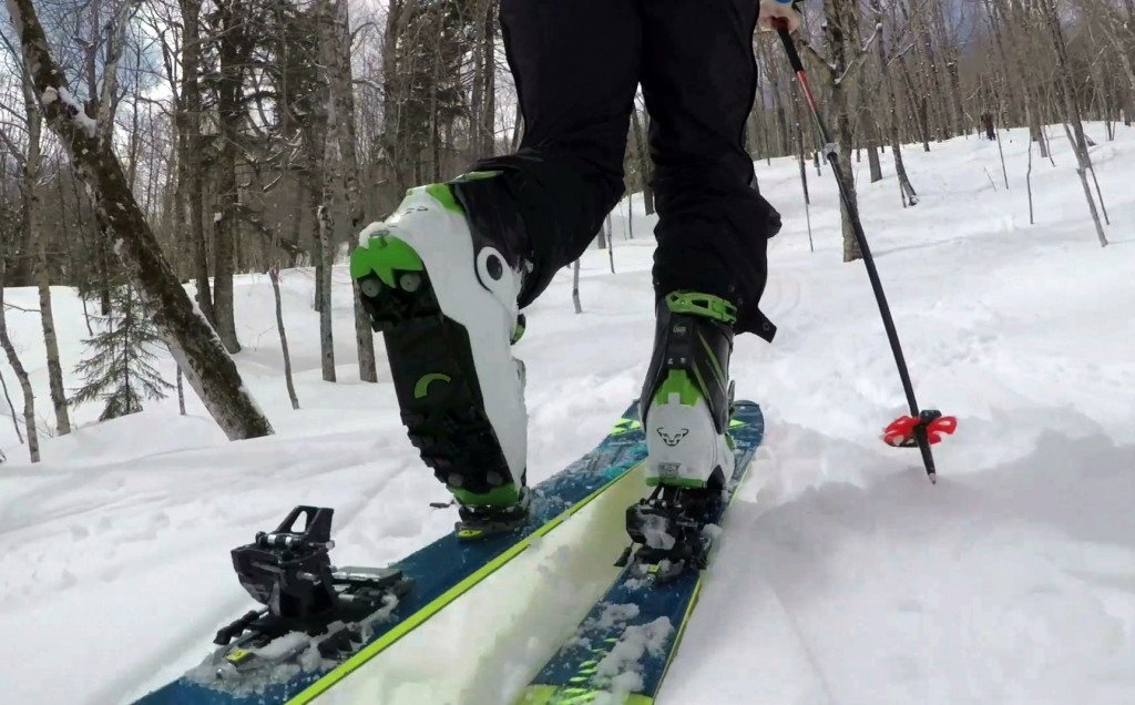"In this Saturday, April 21, 2018, photo, provided by Andrew Drummond, Drew Zimber ""skins"" uphill using backcountry skis with climbing skins attached t..."