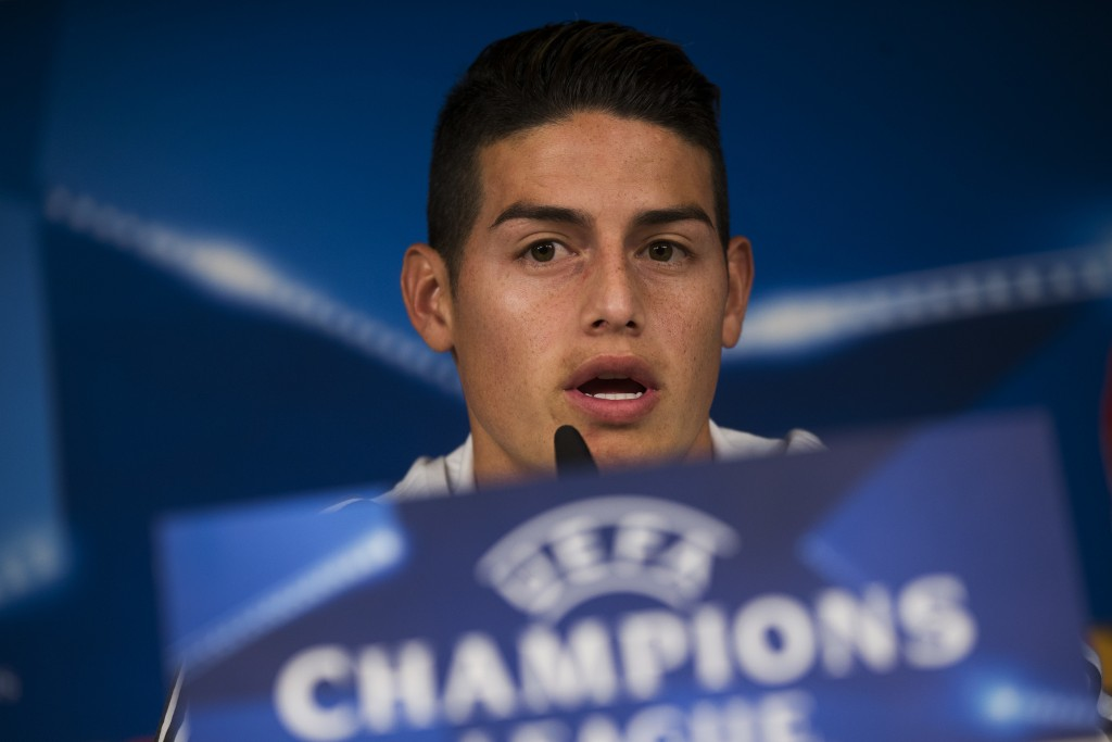 Bayern Munich's James Rodriguez during talks to journalists during a news conference at the Santiago Bernabeu stadium in Madrid, Monday, April 30, 201...