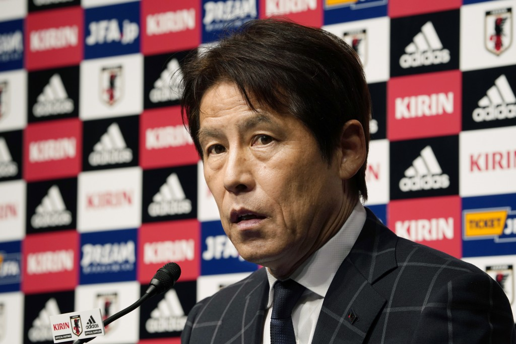 In this photo taken on Thursday, April 12, 2018, Japan Football Association (JFA) new coach Akira Nishino speaks during a press conference at its head...