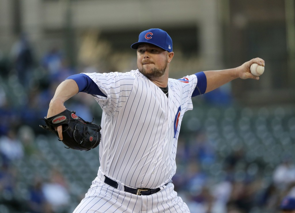 Chicago Cubs starting pitcher Jon Lester delivers during the first inning of a baseball game against the Colorado Rockies Monday, April 30, 2018, in C...