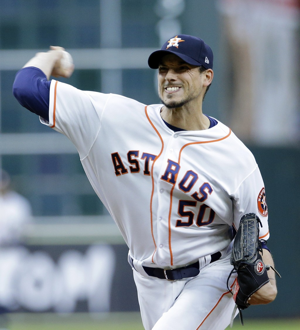Houston Astros' starting pitcher Charlie Morton (50) throws against the New York Yankees during the first inning of a baseball game Monday, April 30, ...