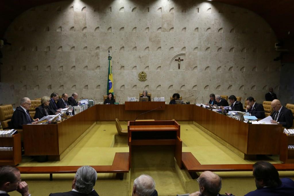FILE - In this April 4, 2018 file photo, the Brazilian Supreme Court meets during the session regarding Brazil's former President Luiz Inacio Lula da ...