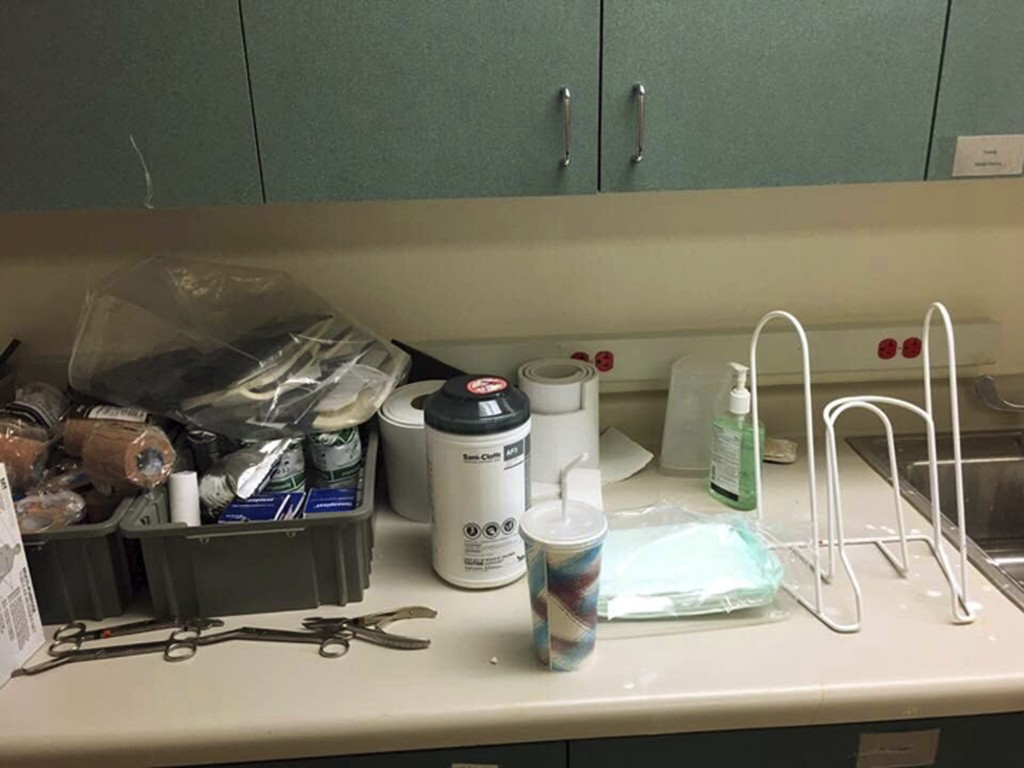 This undated photo provided by Christopher Wilson shows cluttered and unsanitary conditions that Wilson, an Army veteran, found in an exam room where ...