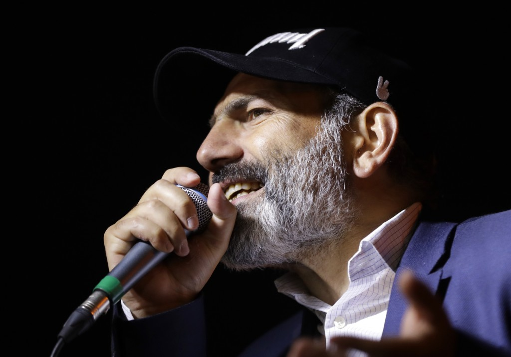 Armenian protest leader Nikol Pashinian speaks during a rally in Yerevan on Monday, April 30, 2018. Armenia's parliament plans to choose a replacement...