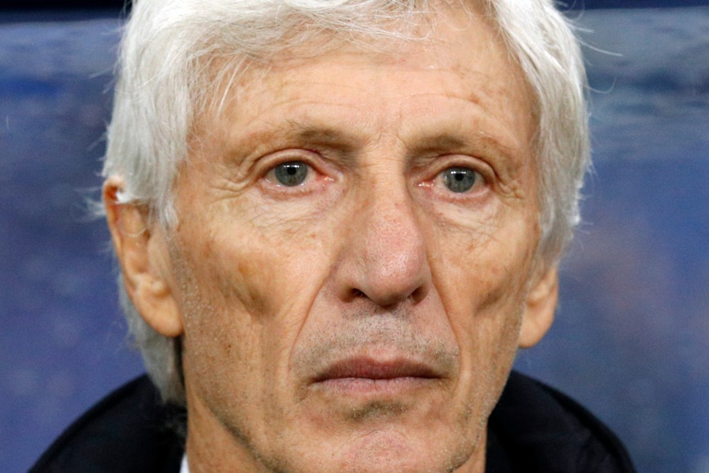 In this photo taken on Friday, March 23, 2018, Colombia head coach Jose Nestor Pekerman stands prior to the start of a friendly soccer match between F...