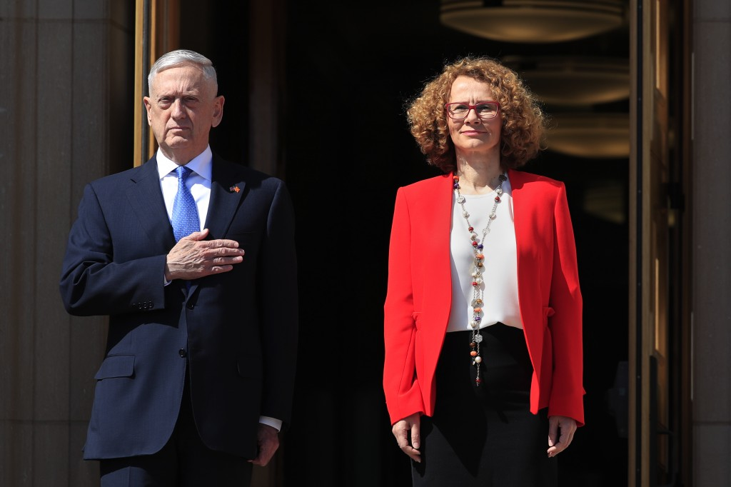 Secretary of Defense Jim Mattis puts his hand over his heart as the Star-Spangled Banner is played during a ceremony welcoming Macedonian Defense Mini...