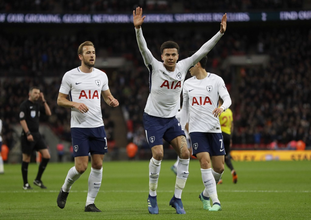Tottenham's Dele Alli dances as he celebrates scoring a goal during the English Premier League soccer match between Tottenham Hotspur and Watford at W...