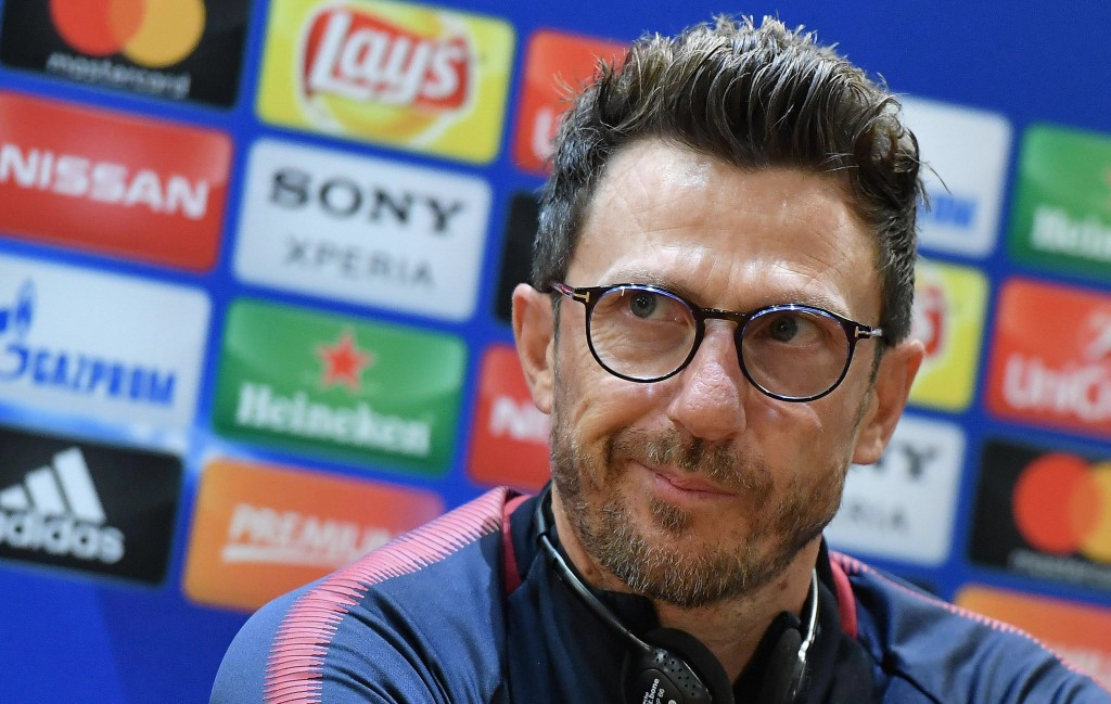 AS Roma's head coach Eusebio Di Francesco listens to a reporter's question during a press conference at the Olympic stadium, in Rome, Tuesday, May 1, ...