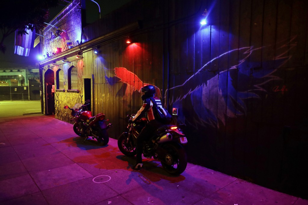 This Monday, April 30, 2018 photo shows the exterior view of The SF Eagle, a historic gay bar in San Francisco. San Francisco's gay and leather commun...