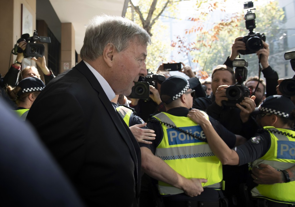 Australian Cardinal George Pell leaves the Melbourne Magistrate Court in Melbourne Tuesday, May 1, 2018.  Australian Cardinal Pell, the most senior Va...